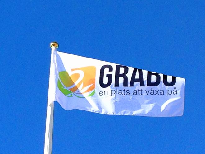 Skördefest Gråbo 2013 logga flagga