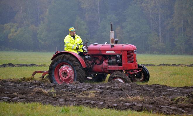 Traktor vid veteranplöjningen